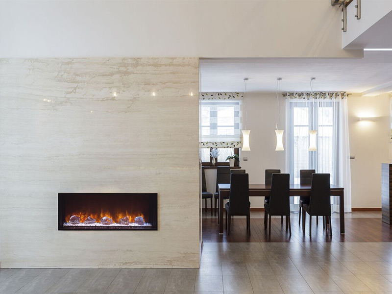 The Landscape FullView 40 built-in electric fireplace is the first of its kind creating a perfect substitute for a linear gas fireplace. This unique frameless design allows for edge to edge flame presentation as well as unlimited surround capabilities.