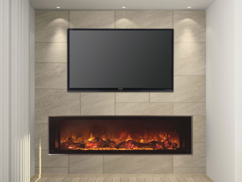 The Landscape FullView 60 built-in electric fireplace is the first of its kind creating a perfect substitute for a linear gas fireplace. This unique frameless design allows for edge to edge flame presentation as well as unlimited surround capabilities.
